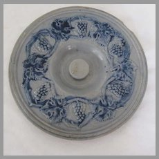 Blue & Gray Stoneware Molded Grapes Large Lid