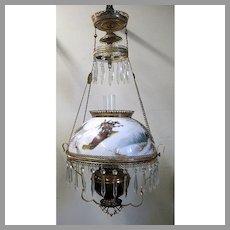 Hanging Victorian Oil Lamp - Girl on Toboggan Winter Scene