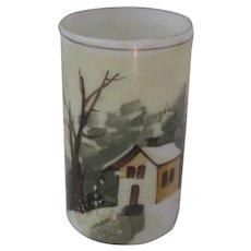 19th Century Sandwich type Winter Scene Vase
