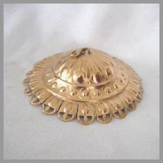 Old Brass Embossed Smoke Bell for Oil Lamp