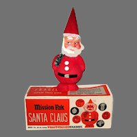 Santa Claus Nodder Candy Container With Original Advertising Box