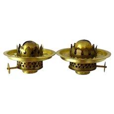 Two Sets Nutmeg Miniature Oil Lamp Burners & Rings