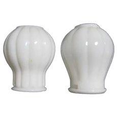 Two White Milk Glass Miniature Oil Glow Lamp Shades
