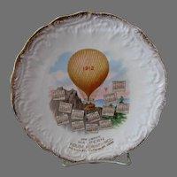 Advertising 1912 Calendar Plate Waterbury Conn Hot Air Balloon