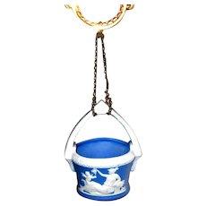 Blue Jasperware Hanging Match Holder