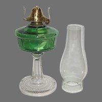 19th Century Green Riverside Panel Oil Lamp