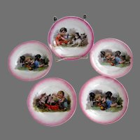 Child's Plates From Doll Dish Set - Kittens & Puppies - Germany