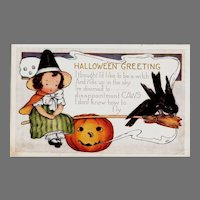 Halloween postcard - Whitney - Girl Witch,Broomstick,Crows, Pumpkin