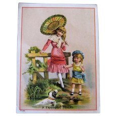 Girls With Water Spaniel Large Trade Card - National Tea