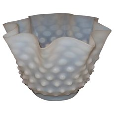 White Opalescent Satin Hobnail Shade
