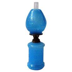 Blue Opaline Antique Miniature Oil Lamp