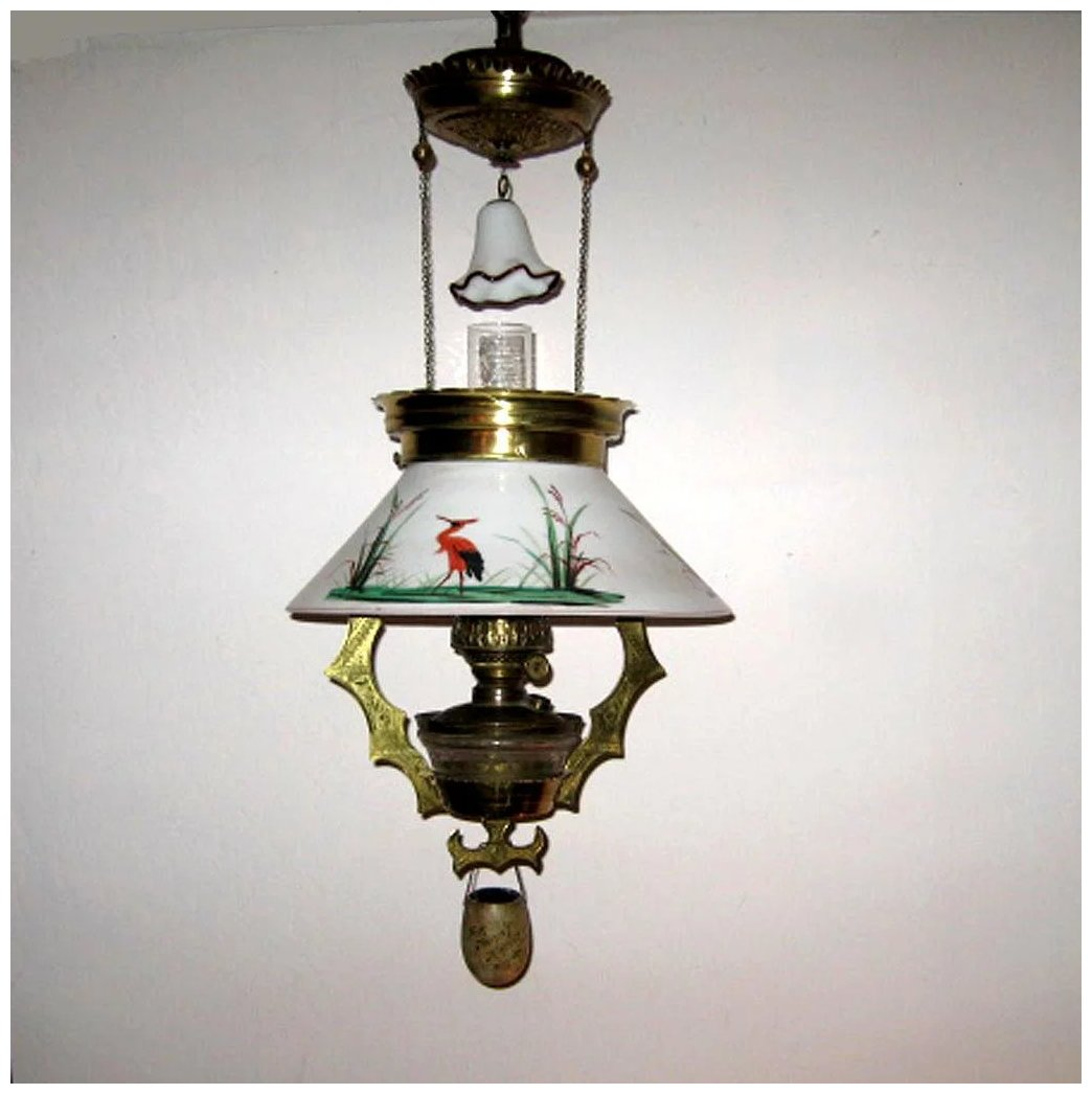 Hanging Lamp That Drips Oil: Victorian Hanging Oil Parlor Lamp With Storks : Eileen