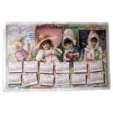 1895 Hoyt's Calendar Trade Card Blotter
