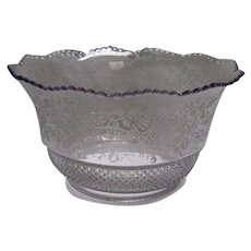 Pressed and Etched Gas or Oil Lamp Shade