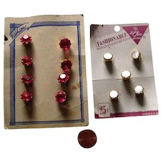 Two sets vintage buttons on cards