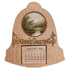 1892 Seasons Greeting Die Cut Little Calendar