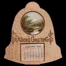 1892 Seasons Greeting Die Cut Little Calendar