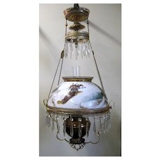 Hanging Victorian Parlor Lamp - Unusual Painted Shade