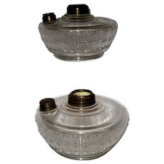 Pair 1870s Pattern Glass Oil Lamp Fonts