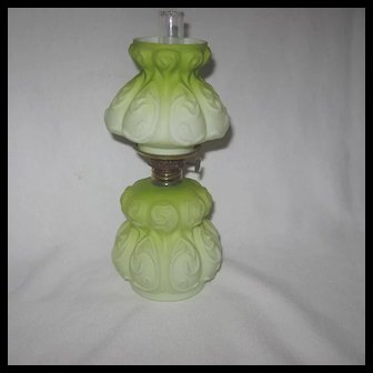 Chartreuse Cased Satin Glass Mini Oil Lamp