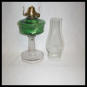 1880s Green over Clear Riverside Panel Oil Lamp