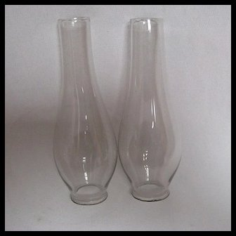 pair Early Oil Lamp Small Lip Chimneys