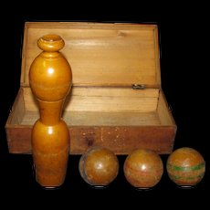 Antique Wooden Pin Game And Balls In Box