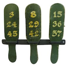 Antique Carnival Game Wheel of Chance Folk Art Betting Paddles Green Paint