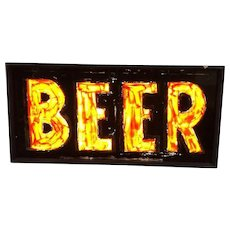 Antique Reverse Glass Hand Painted Transome Window Bar Beer Sign