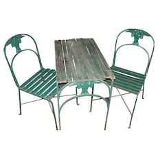 Antique Garden Table and Chairs By Morgan Colt Gothic Owls Arts and Crafts Period