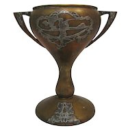 Antique Silver Overlay Golf Presentation Cup
