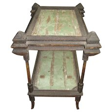 Antique Tramp Art Table Two Tier Folk Art Carved Decorated