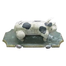 Antique Pig Folk Art Carved Painted Wooden Pull Toy