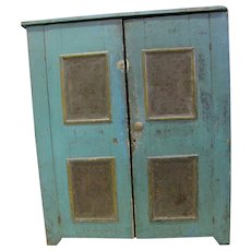 Antique Painted Punched Tin Pie Safe
