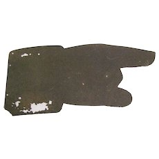 Antique Metal Pointing Hand Sign Fragment