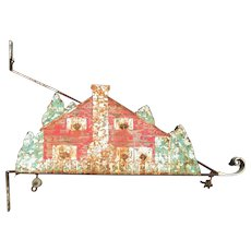 Antique Iron and Painted Tin Sign Hanging Bracket