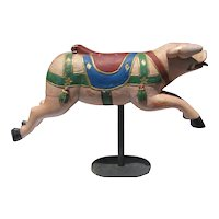 Antique Child's Carousel Ride Wooden Pig