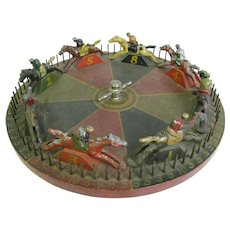 Antique Carnival Game Wheel of Chance Folk Art Horse Race