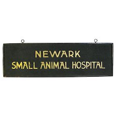 Vintage Sand Painted Wooden Animal Hospital Sign Newark