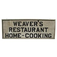 Antique Painted Wooden Restaurant Home Cooking Sign