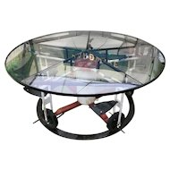 Vintage Glass Top Table Child's Playground Ride Base