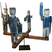 Antique Wooden Carved and Painted Policeman Whirligig Folk Art
