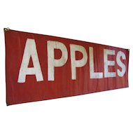 Vintage Apples Roadside Stand Painted Canvas Sign