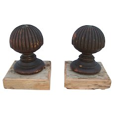 Antique Turned Carved Wooden Finial Pair