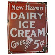Vintage Porcelain New Haven Ice Cream Sign
