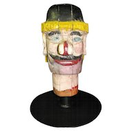 Antique Carnival Amusement Game Charlie's Hat Carved Wooden Head