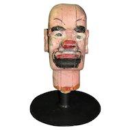 Antique Carnival Amusement Game Charlie's Hat Folk Art Carved Wooden Head Gotee
