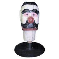 Antique Carnival Amusement Game Charlie's Hat Folk Art Carved Wooden Head White Face