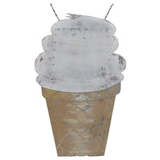 Vintage Painted Tin Ice Cream Cone Sign