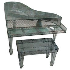 Vintage Iron Garden Grand Piano and Bench